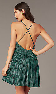 Image of metallic short v-neck homecoming green party dress. Style: LUX-LD5525 Back Image