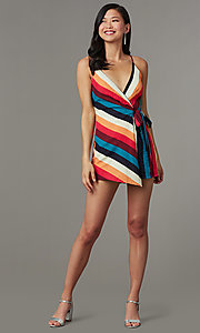 Image of multicolor striped casual party romper for cruises. Style: LUX-LR5348 Front Image