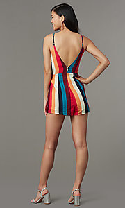 Image of multicolor striped casual party romper for cruises. Style: LUX-LR5348 Back Image