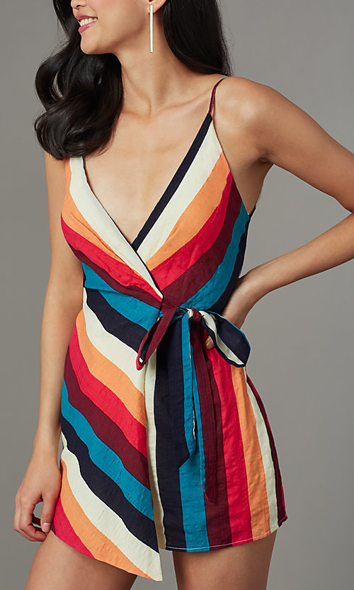 Image of multicolor striped casual party romper for cruises. Style: LUX-LR5348 Detail Image 1