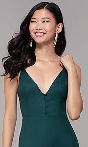 Image of hunter green wedding-guest jumpsuit with pockets. Style: BLU-18IBR1769 Detail Image 1