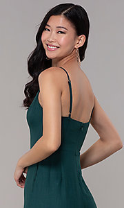 Image of hunter green wedding-guest jumpsuit with pockets. Style: BLU-18IBR1769 Detail Image 2