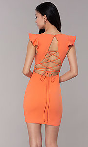Image of short orange party dress with string-tie corset. Style: BLU-BD89641-1 Back Image