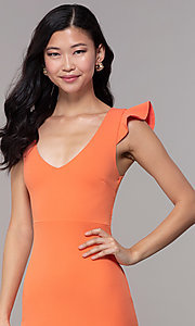 Image of short orange party dress with string-tie corset. Style: BLU-BD89641-1 Detail Image 1