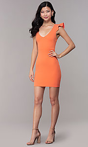 Image of short orange party dress with string-tie corset. Style: BLU-BD89641-1 Detail Image 3