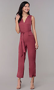 Image of wedding-guest v-neck jumpsuit with cropped legs. Style: BLU-IBR1616 Front Image