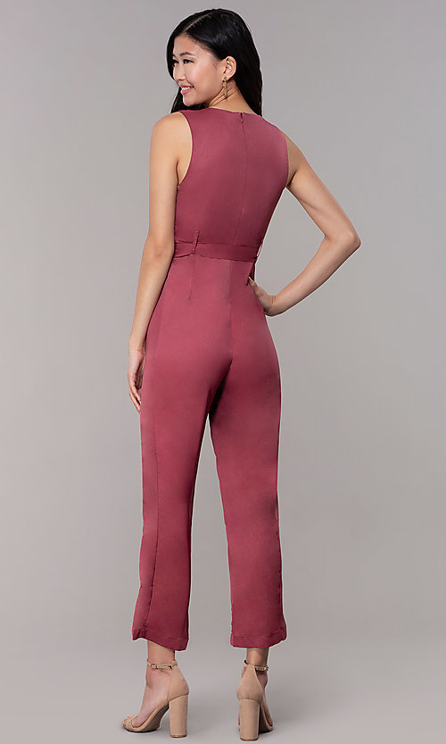 Image of wedding-guest v-neck jumpsuit with cropped legs. Style: BLU-IBR1616 Back Image