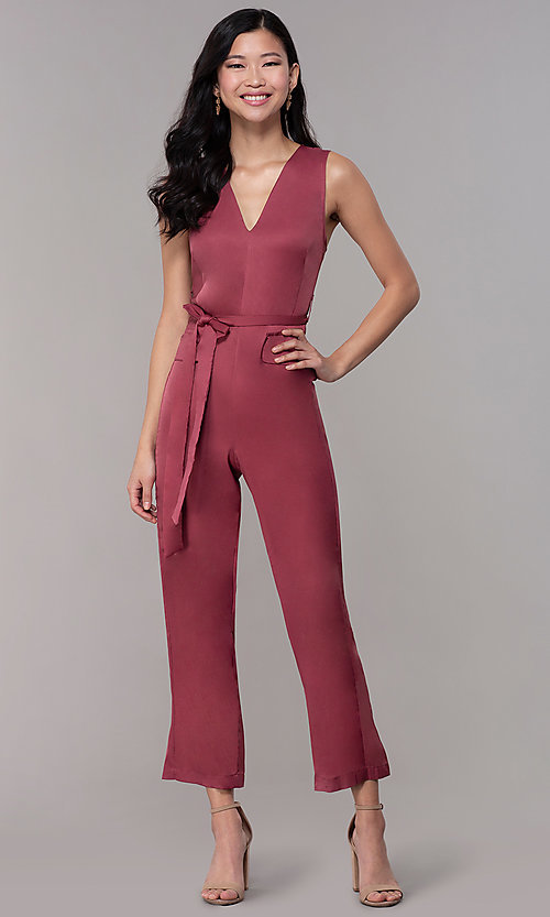 Image of wedding-guest v-neck jumpsuit with cropped legs. Style: BLU-IBR1616 Detail Image 3