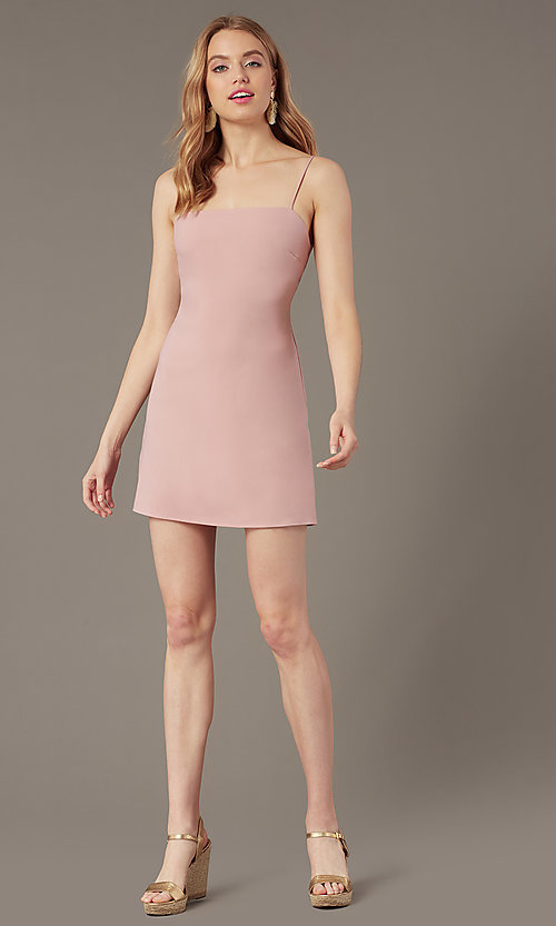 Image of short square-neck dusty rose wedding-guest dress. Style: BLU-BD95185 Front Image
