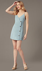 Image of short casual button-front party dress in seafoam. Style: BLU-IBD9858 Front Image