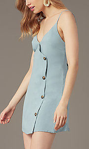 Image of short casual button-front party dress in seafoam. Style: BLU-IBD9858 Detail Image 1