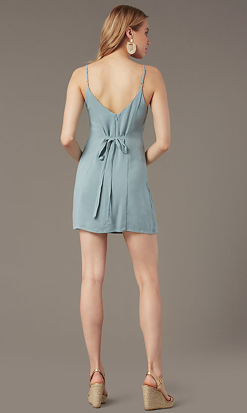 Image of short casual button-front party dress in seafoam. Style: BLU-IBD9858 Back Image