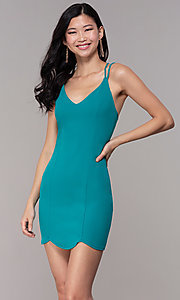 Image of short scalloped-hem wedding-guest party dress. Style: BLU-BD90096 Front Image