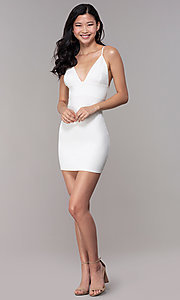 Image of ivory white short party dress with empire waist. Style: BLU-BD95219 Detail Image 3