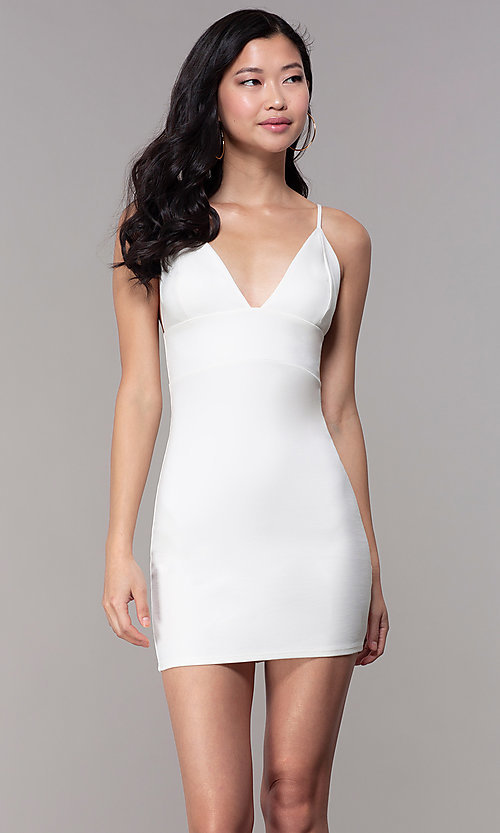 Image of ivory white short party dress with empire waist. Style: BLU-BD95219 Front Image
