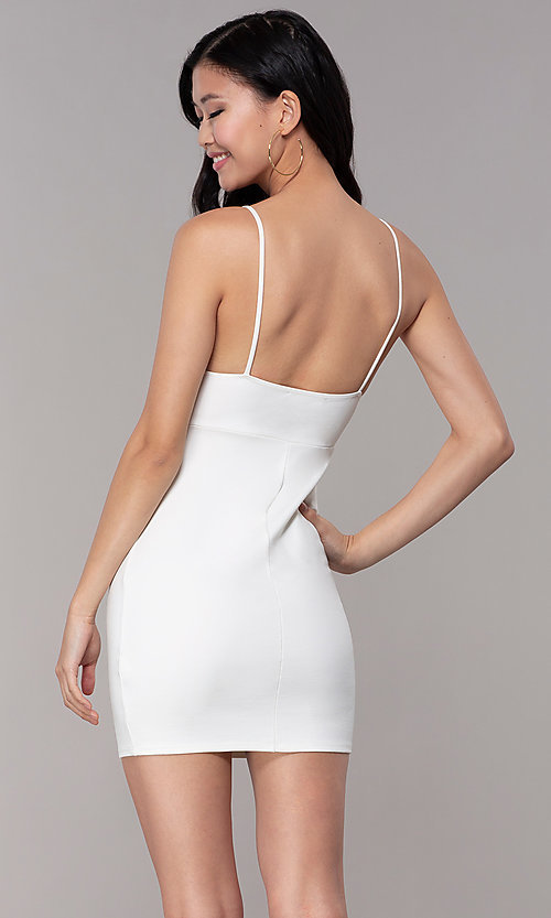 Image of ivory white short party dress with empire waist. Style: BLU-BD95219 Back Image