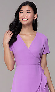 Image of short faux-wrap wedding-guest party dress. Style: BLU-IBD9528-1 Detail Image 1