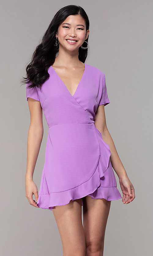 Image of short faux-wrap wedding-guest party dress. Style: BLU-IBD9528-1 Front Image
