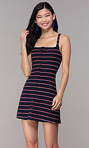 Image of short striped casual navy blue party dress. Style: BLU-IBD9864 Front Image