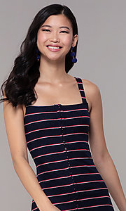 Image of short striped casual navy blue party dress. Style: BLU-IBD9864 Detail Image 1
