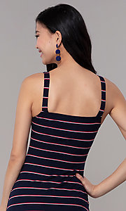 Image of short striped casual navy blue party dress. Style: BLU-IBD9864 Detail Image 2