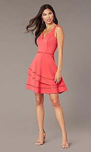 Image of short wedding-guest party dress in watermelon pink. Style: CT-7426YK8B Front Image