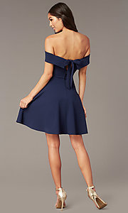 Image of off-the-shoulder short party dress in dark navy. Style: CT-7711AT3A Back Image