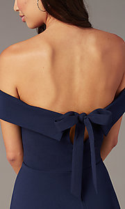 Image of off-the-shoulder short party dress in dark navy. Style: CT-7711AT3A Detail Image 1
