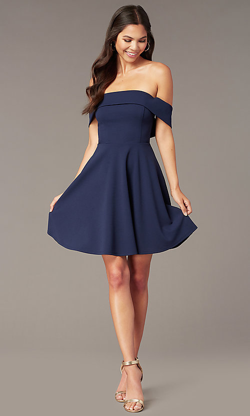 Image of off-the-shoulder short party dress in dark navy. Style: CT-7711AT3A Front Image