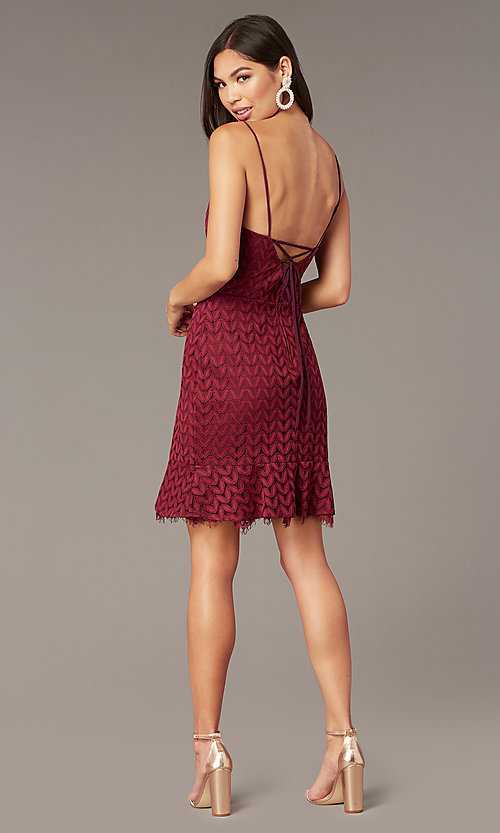 Image of wine red v-neck short lace wedding-guest dress. Style: CT-6030AN9B Back Image
