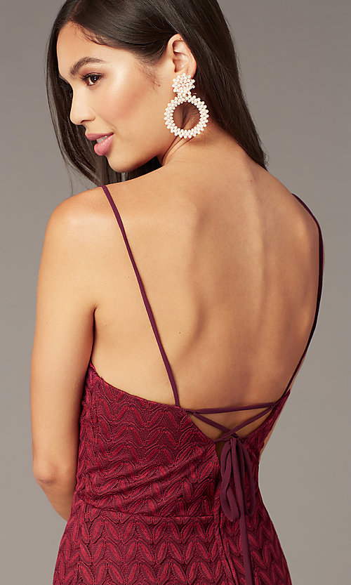 Image of wine red v-neck short lace wedding-guest dress. Style: CT-6030AN9B Detail Image 2