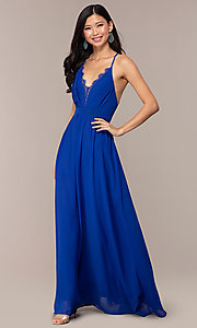 Image of royal blue prom dress with lace-trimmed v-neckline. Style: AC-DS24481W Front Image