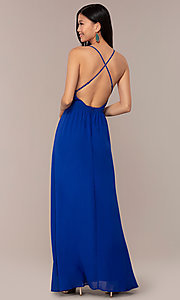 Image of royal blue prom dress with lace-trimmed v-neckline. Style: AC-DS24481W Back Image