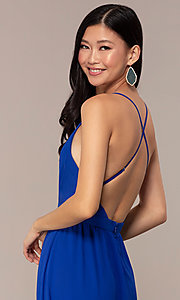 Image of royal blue prom dress with lace-trimmed v-neckline. Style: AC-DS24481W Detail Image 2