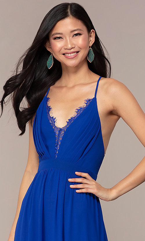 Image of royal blue prom dress with lace-trimmed v-neckline. Style: AC-DS24481W Detail Image 1