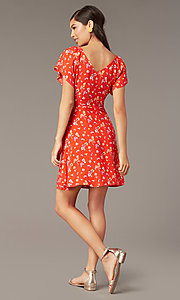 Image of v-neck short print casual dress with short sleeves. Style: AC-EDF16064TY Back Image