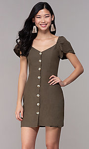 Image of button-front bell-sleeve short party dress in olive. Style: FAN-EKD2012 Front Image