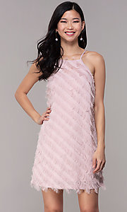 Image of short shift mauve pink graduation party dress. Style: FAN-EKD2133M Front Image