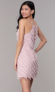 Image of short shift mauve pink graduation party dress. Style: FAN-EKD2133M Back Image