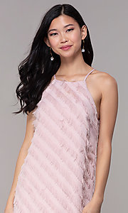 Image of short shift mauve pink graduation party dress. Style: FAN-EKD2133M Detail Image 1