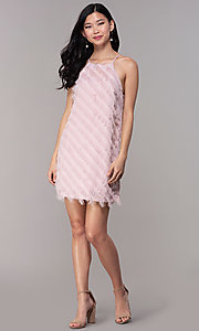 Image of short shift mauve pink graduation party dress. Style: FAN-EKD2133M Detail Image 3