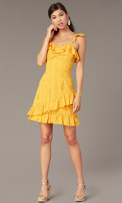 Image of short yellow eyelet-lace party dress with ruffles. Style: FAN-AKD0094Y Front Image
