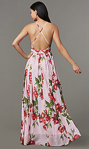 Image of maxi-length floral-print wedding-guest dress. Style: LT-LD51055A Back Image