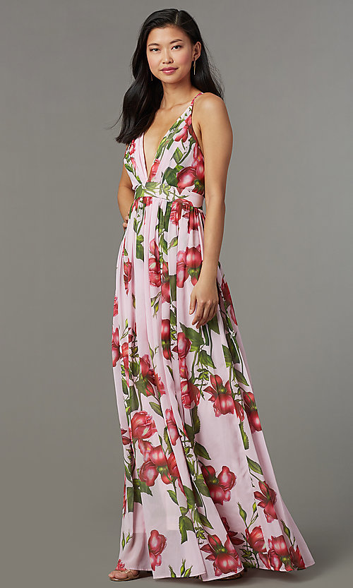 d83e84e661 Maxi-Length Floral-Print Wedding-Guest Dress