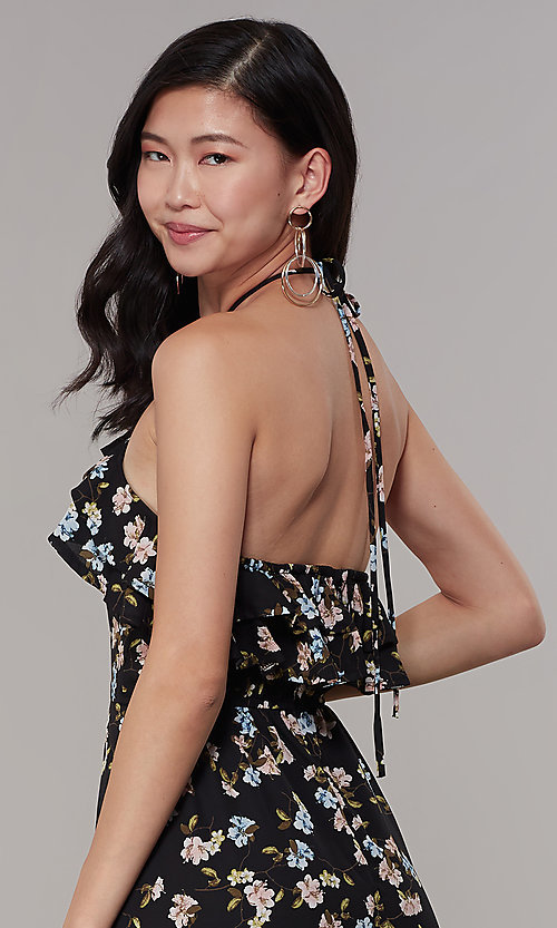 Image of long floral-print halter wedding-guest dress. Style: RO-R68001 Detail Image 2
