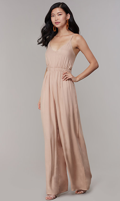 Image of wide-leg v-neck jumpsuit for wedding guests. Style: RO-R68257-1 Front Image