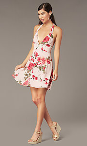 Image of floral-print v-neck short halter party dress. Style: RO-R68974-1 Front Image