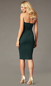 Image of strapless sweetheart knee-length party dress. Style: CT-7711BK4AT3 Back Image