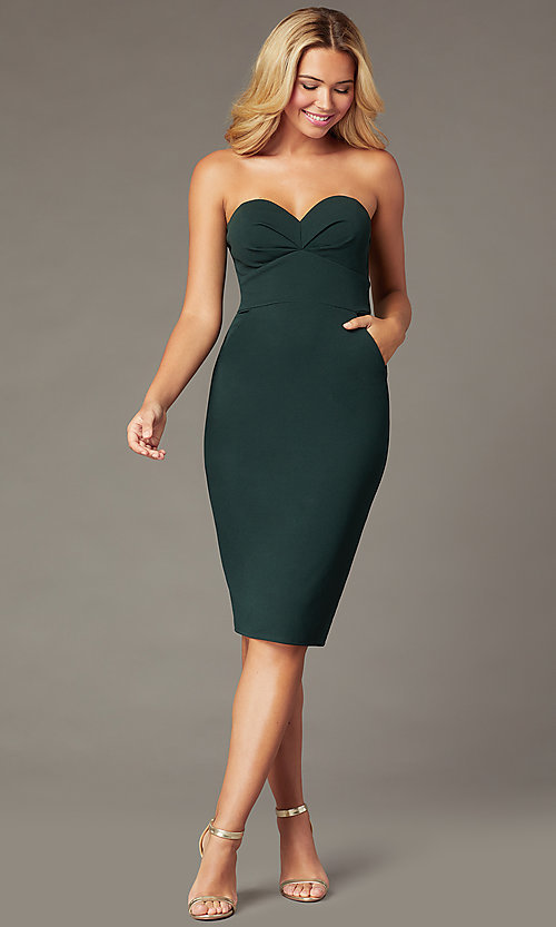 Image of strapless sweetheart knee-length party dress. Style: CT-7711BK4AT3 Front Image