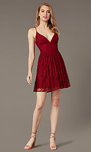 Image of short lace corset-tie-back semi-formal party dress. Style: MT-1001-2 Detail Image 2